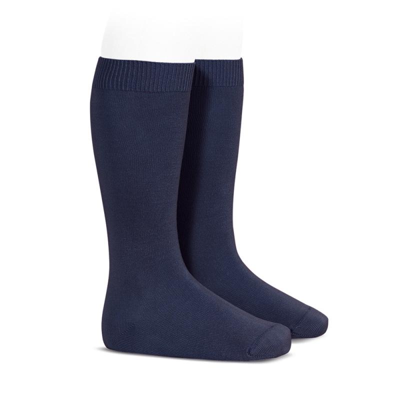 Meia pelo joelho lisa  azul marinho