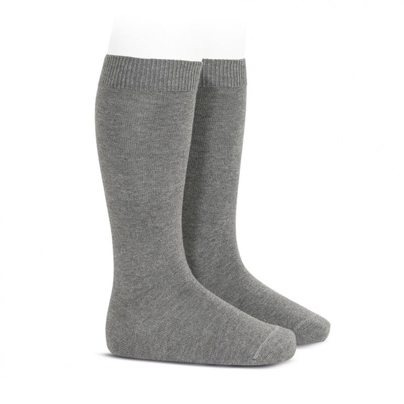 Meia pelo joelho lisa cinza médio