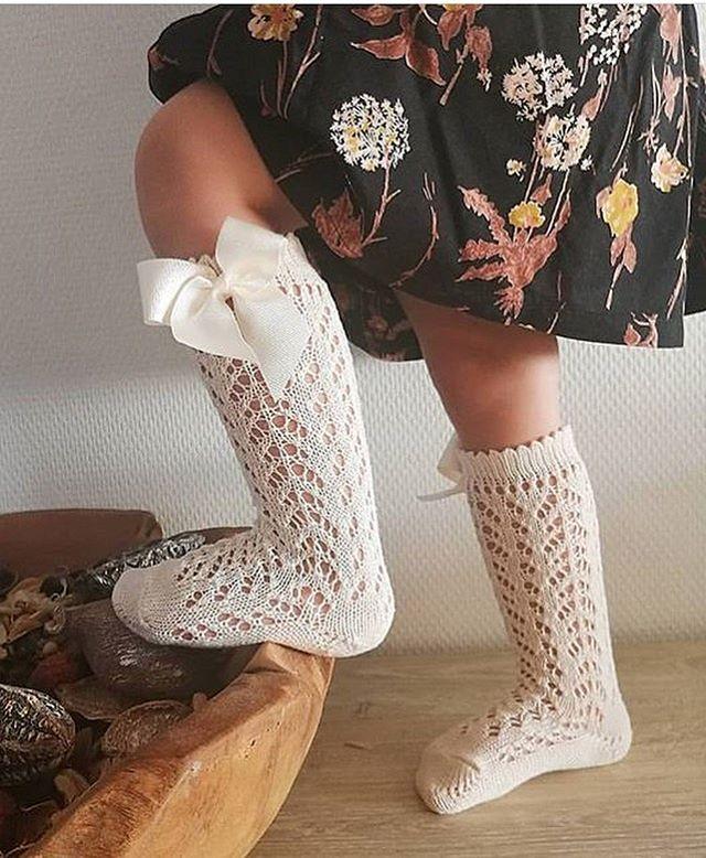 Meia  crochet com laço