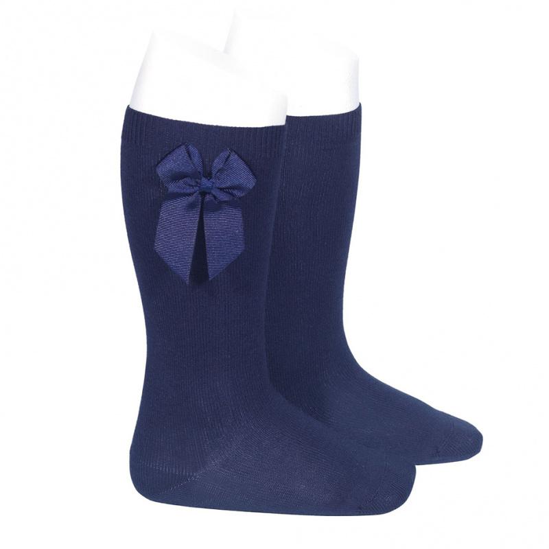 Meia pelo joelho com laço azul marinho