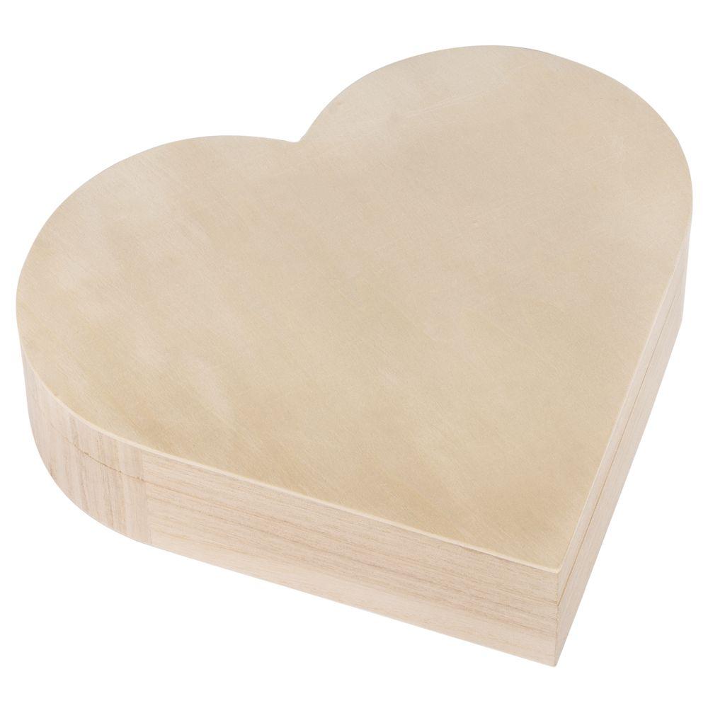 Caixa madeira em forma de coração