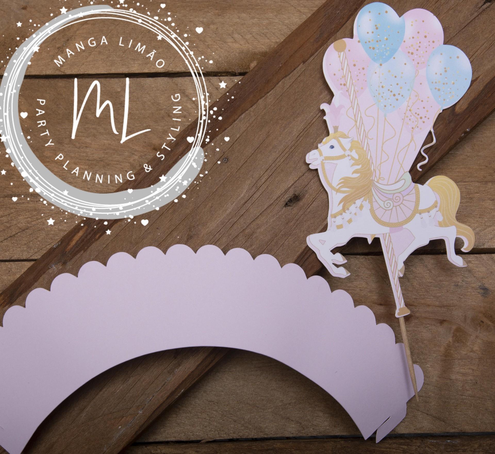 Cintas Cupcake Carrossel Pack 6 unidades