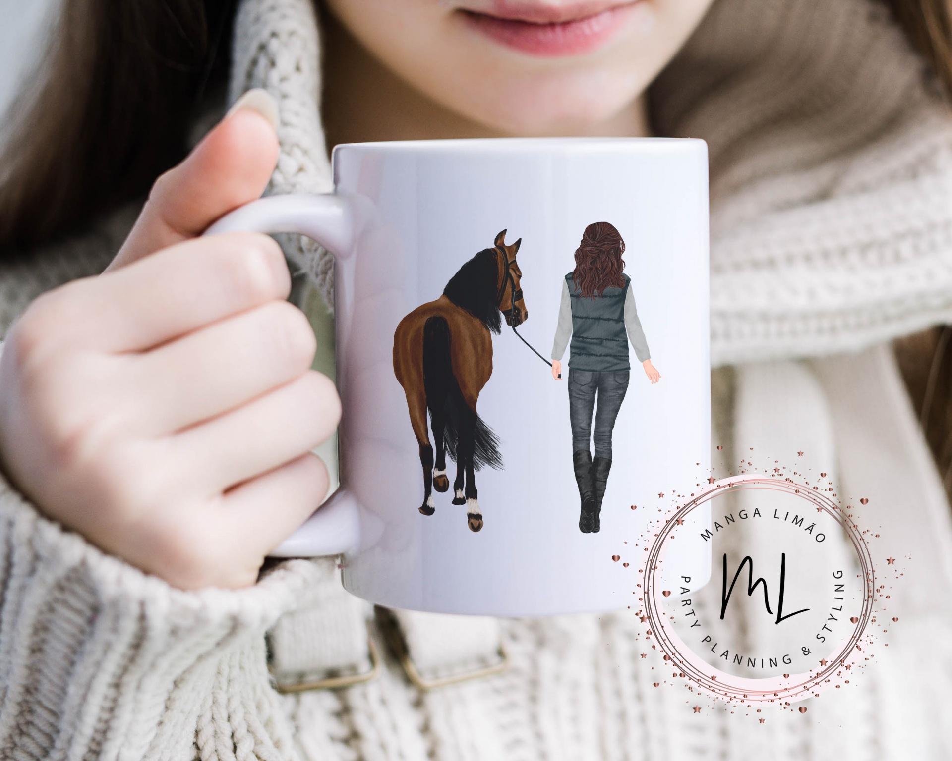Caneca Cavaleira com seu cavalo