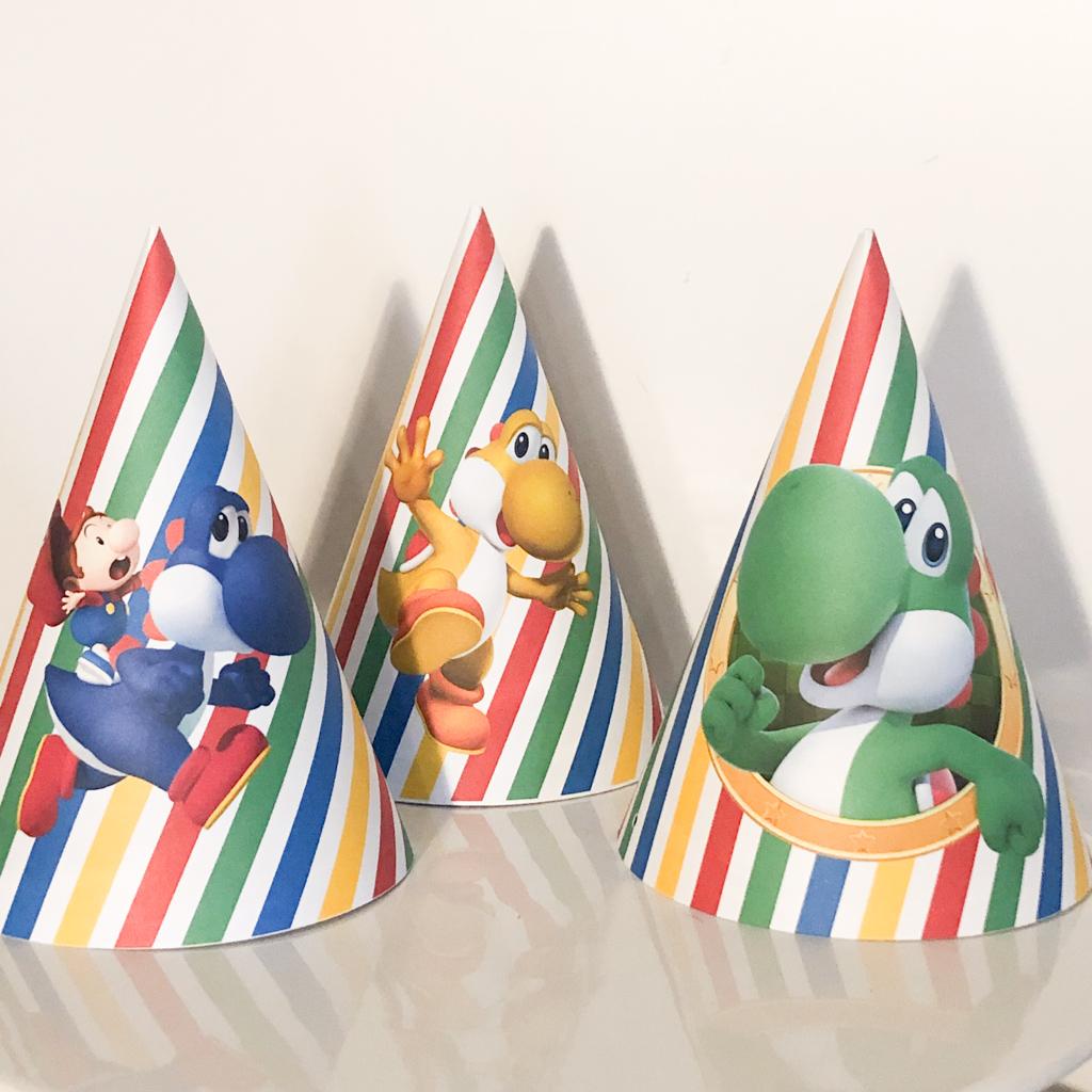 Chapéu de Festa tema Super Mario pack 8 unidades
