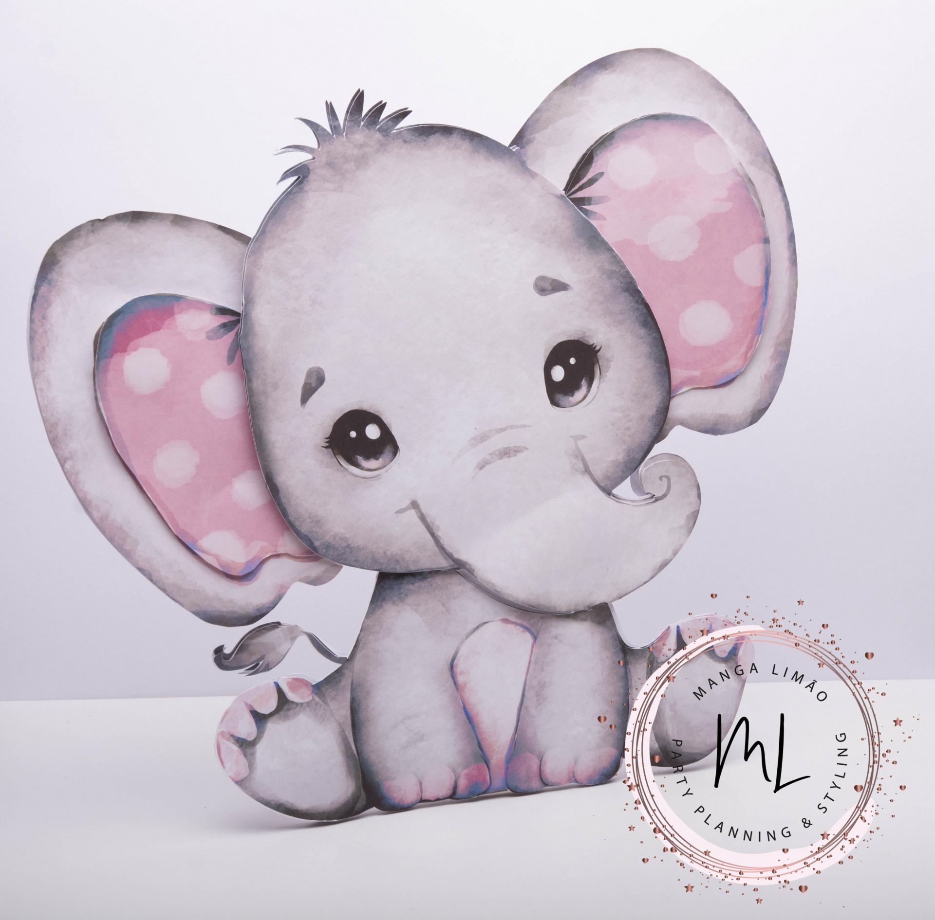 Elefante 2D cor de Rosa