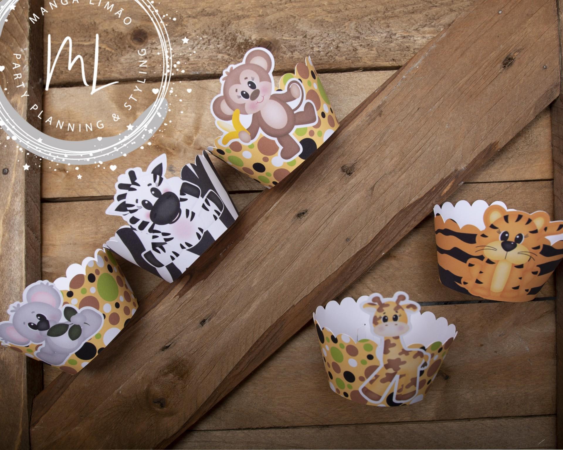 Pack 8 Cintas de cupcake festa Safari / selva