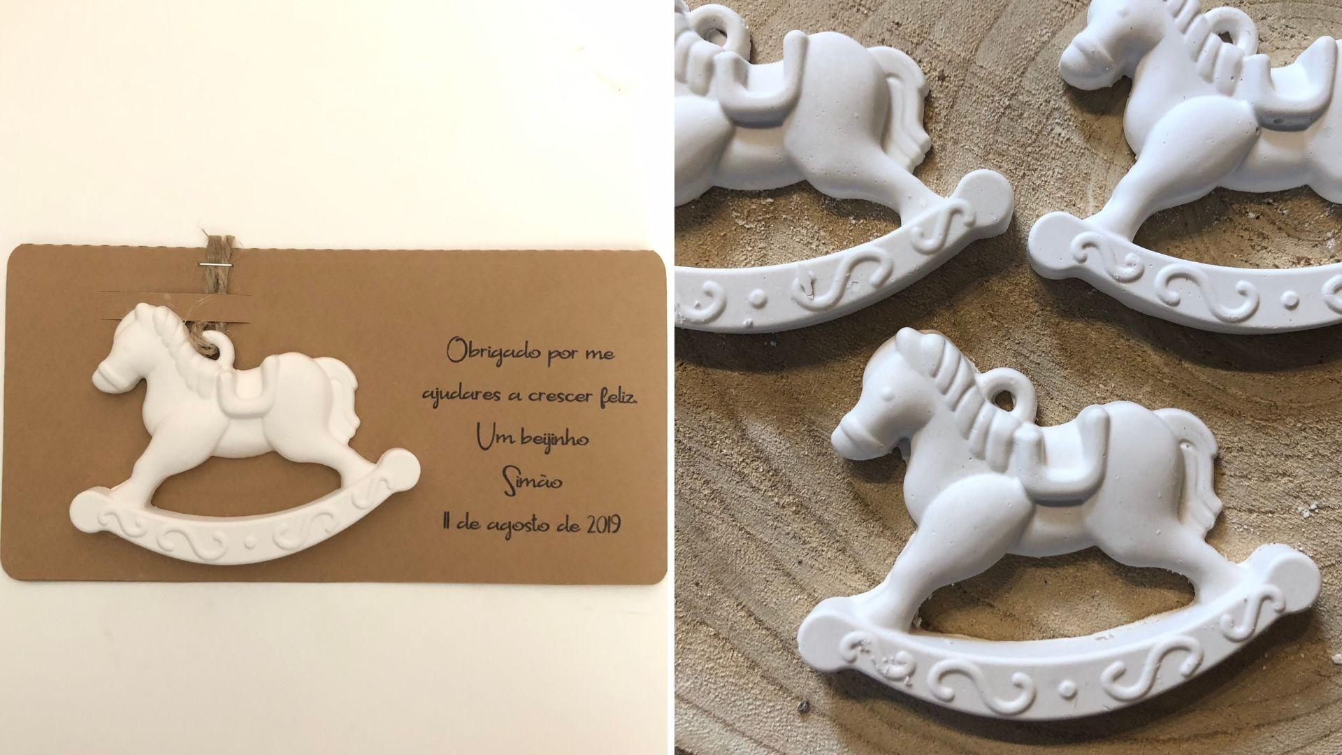 Cavalo de Baloiço em Gesso perfumado com embalagem personalizada