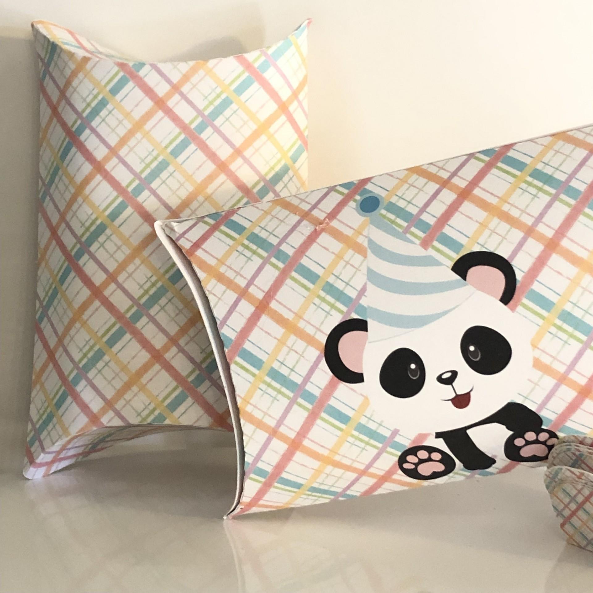 Caixa almofada Xadrez / Panda
