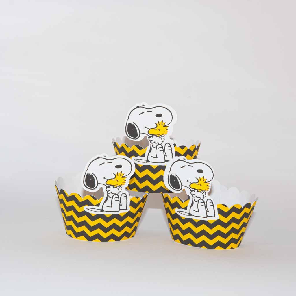 Conjunto 6 cintas para cupcake Snoopy