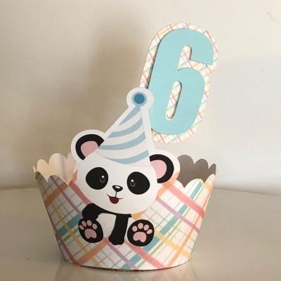 Cintas para Bolos e Cupcakes Panda + número