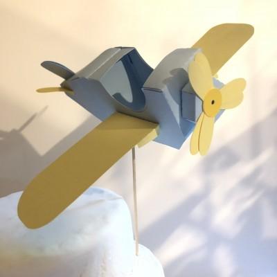 Topo de bolo Avião 3D