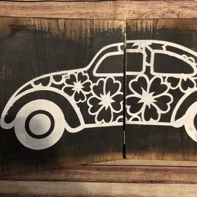 Quadro de madeira duplo com carro