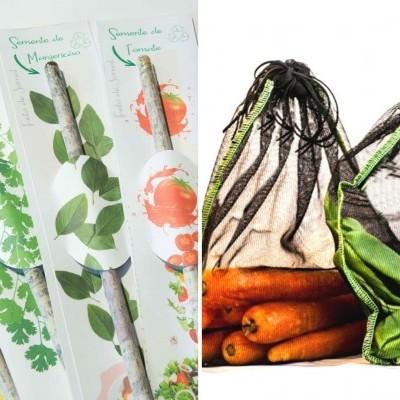 Pack de 5 sacos de frutas e legumes + 4 lápis Semente