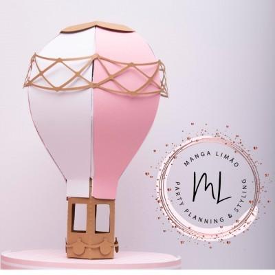 Topo de bolo balão de ar quente 3D