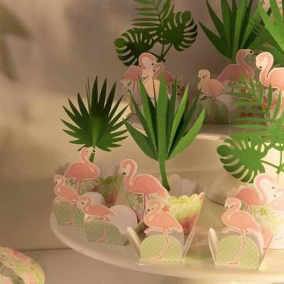 Cintas cupcake Flamingo Pack 6 unidades