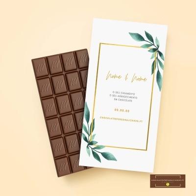 Chocolate grande 100gr com design personalizado para casamento - o seu tema