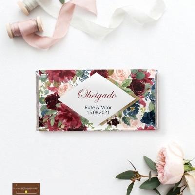 Lembranças Casamento Tema Rustico Chic Bordeau & Azul - Mini Chocolates 20gr personalizados