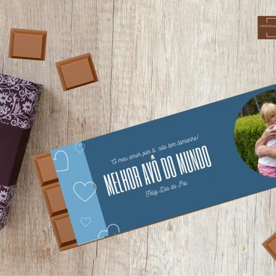 Chocolate Gigante Melhor Avô do Mundo! Personalizado com Fotografia