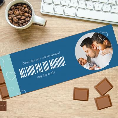 Chocolate Gigante Pai, o meu amor por ti não tem tamanho! Personalizado com Fotografia