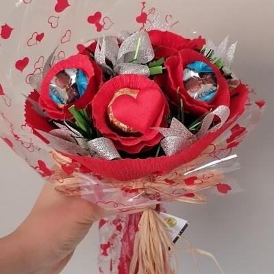 Mini Bouquet com Bombons de Chocolate e Praliné