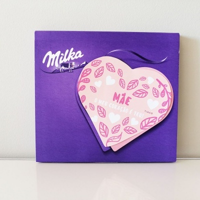 Caixa Bombons Coração Milka Personalizada para o Dia da Mãe