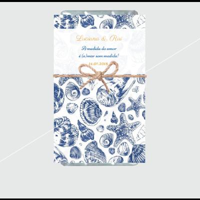 Lembranças Casamento Tema Mar - Mini Chocolates 20gr personalizados