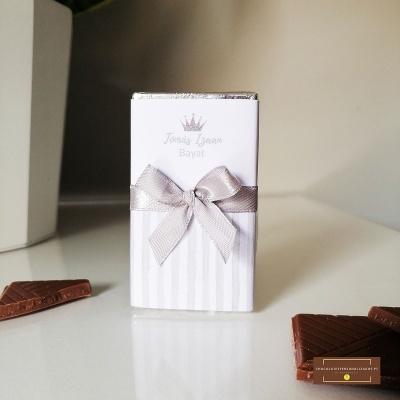 Mini Chocolates para Batismo ou Bayat | Lembranças em Prateado Personalizadas
