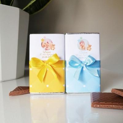 Mini Chocolates com Foto do bebé para Lembrança de Batismo | Amarelo ou Azul