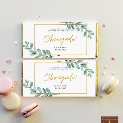 Lembranças Casamento Tema Dourado & Natureza - Mini Chocolates 20gr personalizados