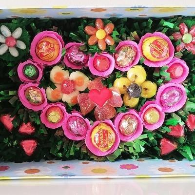 Candy Garden - um jardim de flores numa caixa recheada de Gomas e Bombons