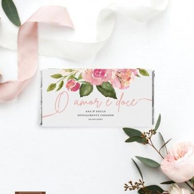 Lembranças Casamento Tema Rosas Sublime - Mini Chocolates 20gr personalizados