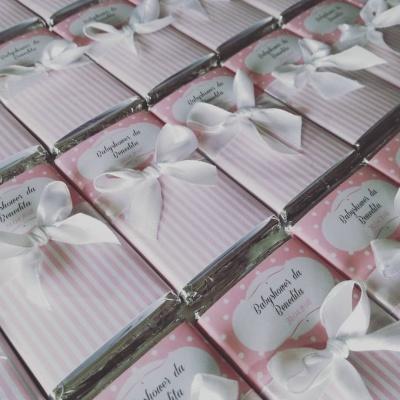 Mini Chocolates para lembrança de Babyshower de Menina
