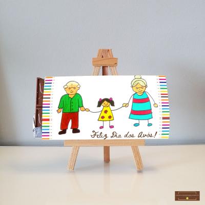 Chocolate Grande ou Gigante Dia dos Avós personalizado com o desenho dos netos!