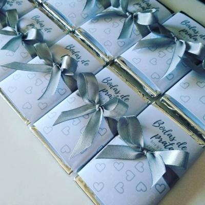 Lembranças Bodas de Prata - Mini Chocolates 20gr personalizados
