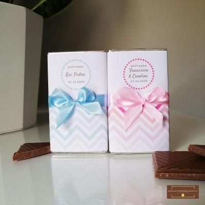 Mini Chocolates para Lembrança de Batismo | Chevron Rosa ou Azul