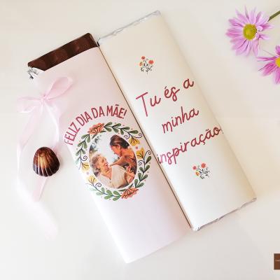 Duo de Chocolates Gigantes Feliz Dia da Mãe! Personalizado com Fotografia