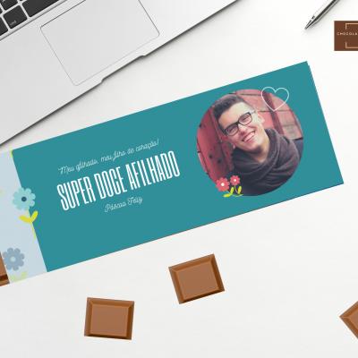 Chocolate Gigante para os super doces afilhados - Personalizado com Fotografia