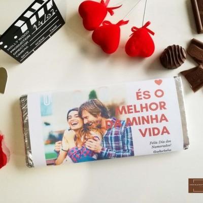 Chocolate Grande S. Valentim   És o melhor da minha vida - Personalizado com Fotografia