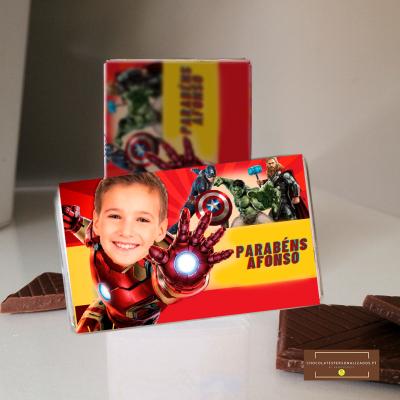 Lembranças Aniversário Iron Man Avengers em Mini Chocolates - Personalizado com Fotografia