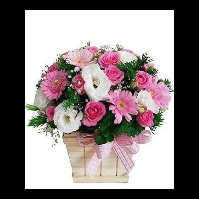Cesta de Flores Rosa