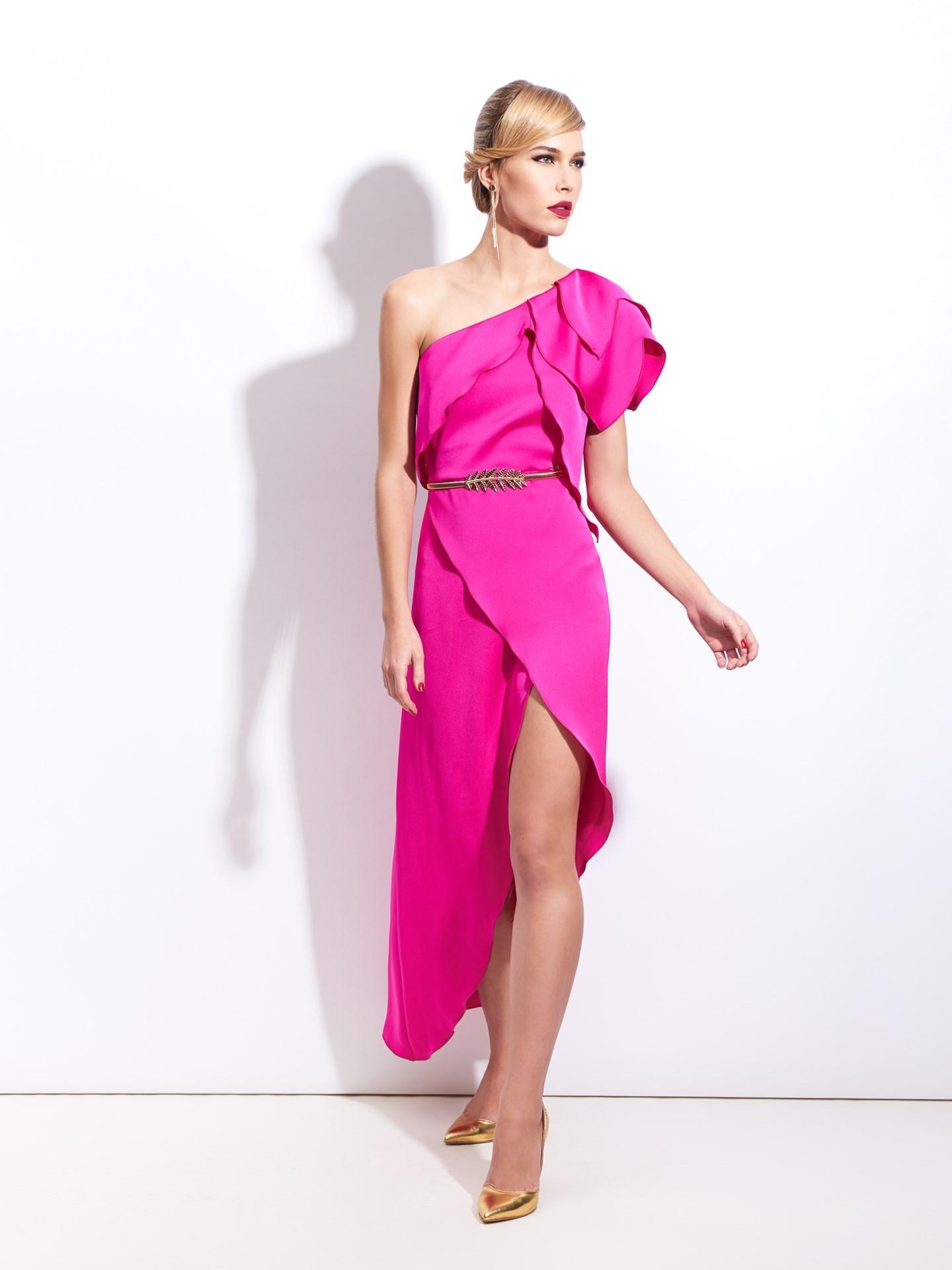 Revenda - Vestido Assimétrico com folhos SAHOCO