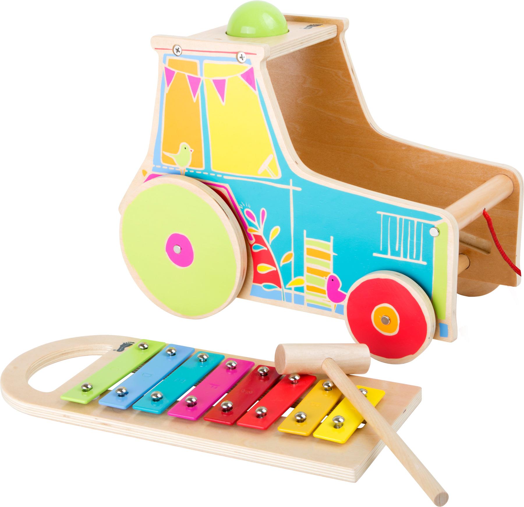 Trator de puxar com xilofone - madeira