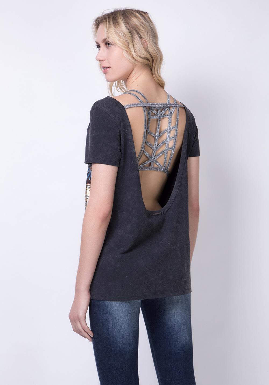 T-shirt com top em pormenor nas costas LANÇA PERFUME