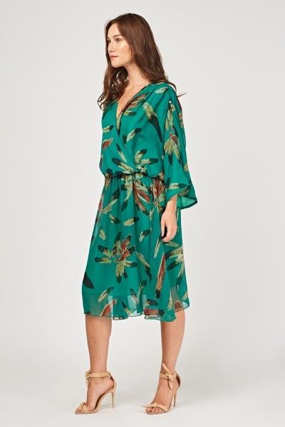 Vestido print penas estilo  Kimono