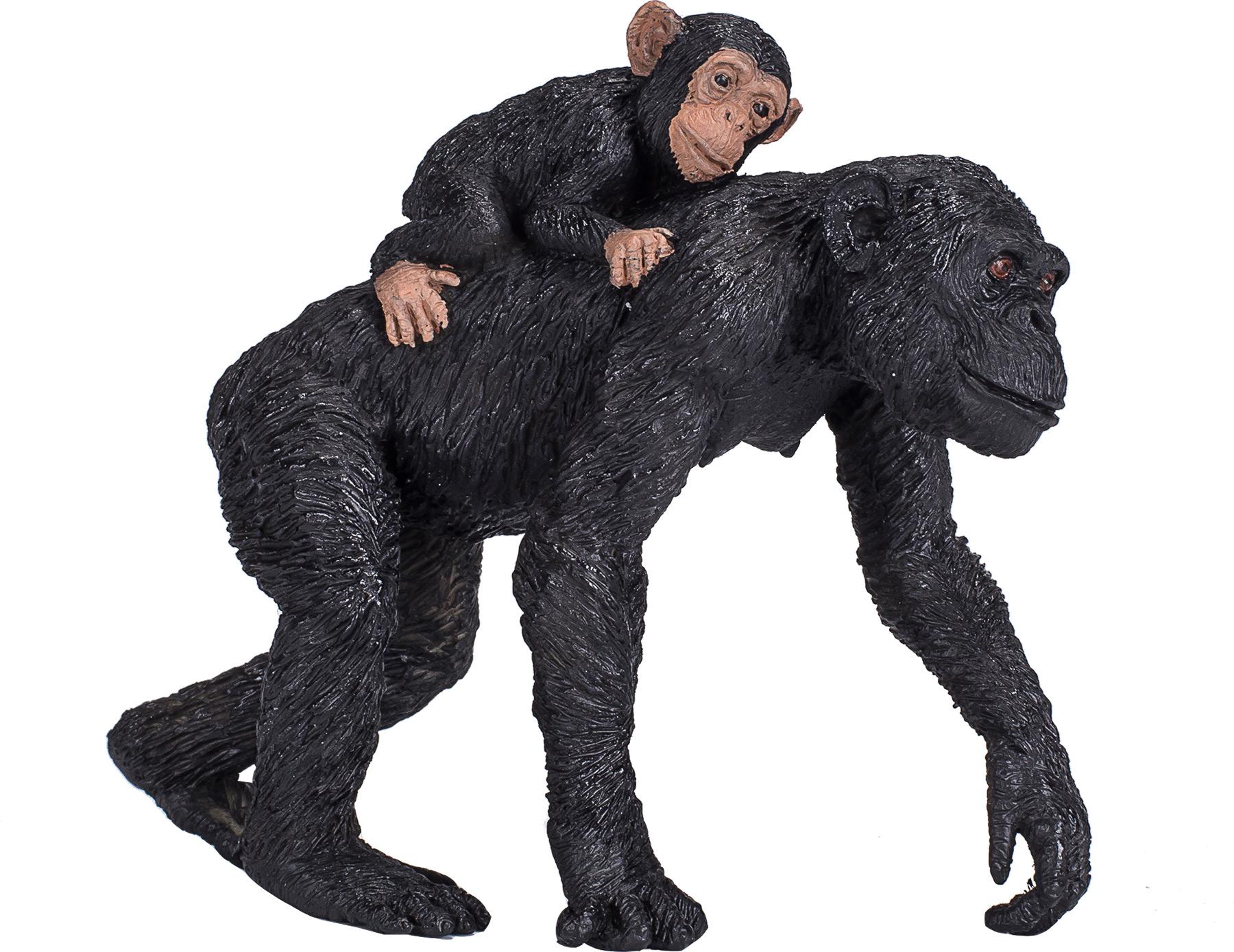 Chimpanzé e bebé (cria) - Figura animal