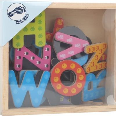 Letras magnéticas coloridas - madeira