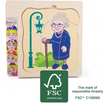 Puzzle por camadas - de bebé a avó - madeira