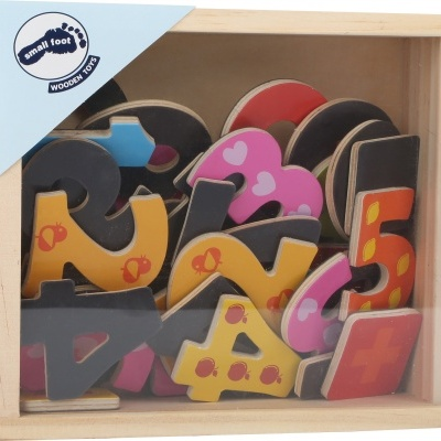 Números magnéticos coloridos - madeira