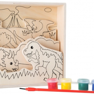 Pintura de madeira - dinossauros