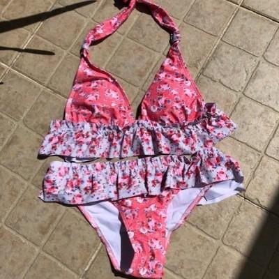 Bikini com folhos - Salmão